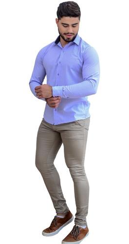 Blusa Social Manga Longa Branca Camiseta Barata Promoção
