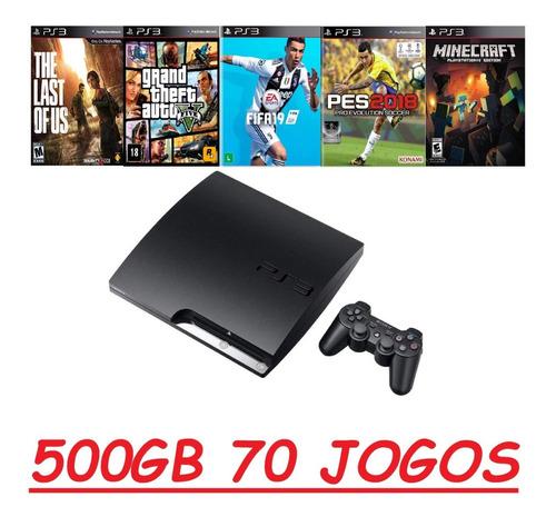 Play 3 Ps3 Slim Gta 5 Pes 18 Fifa 19 Minecraft 500gb 70 Jogo