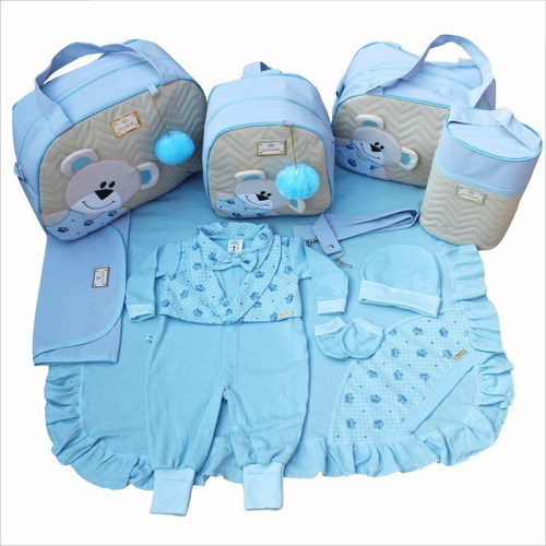 Saída De Maternidade + Kit Bolsas Luxo 5pcs Azul Bebê Menino