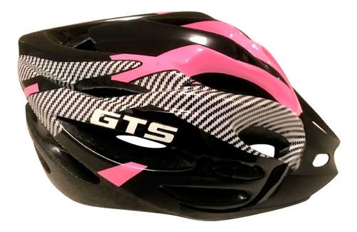 Capacete Com Sinalizador Led Ciclismo Bike Rosa Com Preto