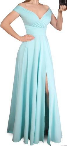 Vestido Longo De Festa Evasê, Com Fenda 258