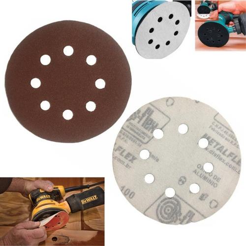 Kit 10 Disco Lixa Pluma Marrom 125mm 8 Furos Roto Orbital