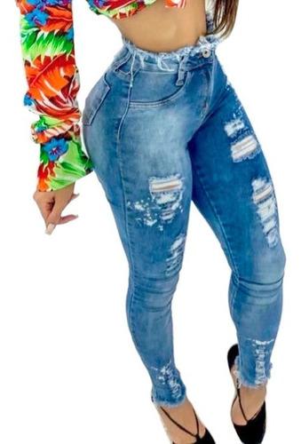 Kit 3 Calças Femininas Jeans Barata Cintura Alta Com Lycra