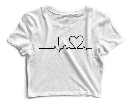 Cropped Camiseta Linha Dos Batimentos Cardíacos Envio Já