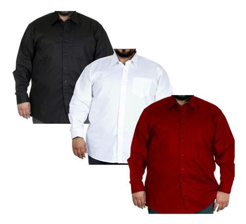 Kit Com 3 - Camisa Social Masculina Extra Grande Plus Size