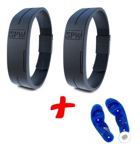 2 Pulseiras Magnéticas Spw + 1 Palmilha Magnética Para Dor
