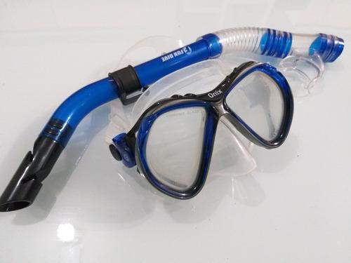Kit Fun Dive Máscara Onix E Snorkel Com Quebra Ondas