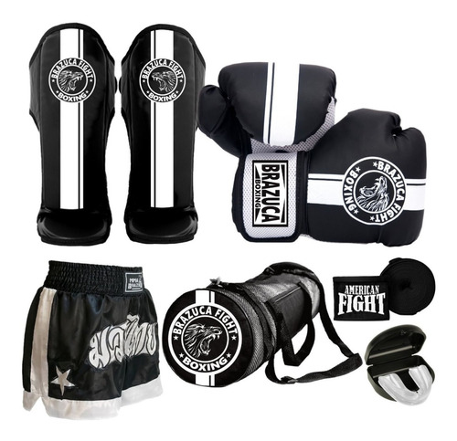 Kit Muay Thai Luva Caneleira Shorts Bolsa Bandagem Masculino
