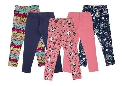 Calça Legging Infantil Menina Liso E Estampado Kit 5 Peças