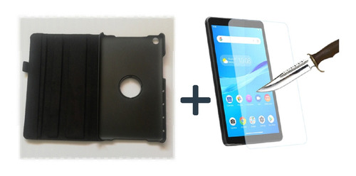 Estuche Giratorio Huawei M5 Lite 8 Negro + Vidrio