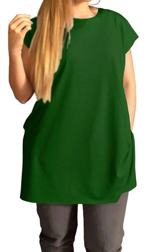 Camiseta Long Gg A G8 Plus Size Tipo Vestido Casual Academia