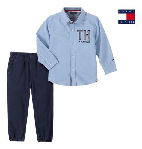 Conjunto Infantil Menino Tommy Hilfiger Camisa+calça Jogger
