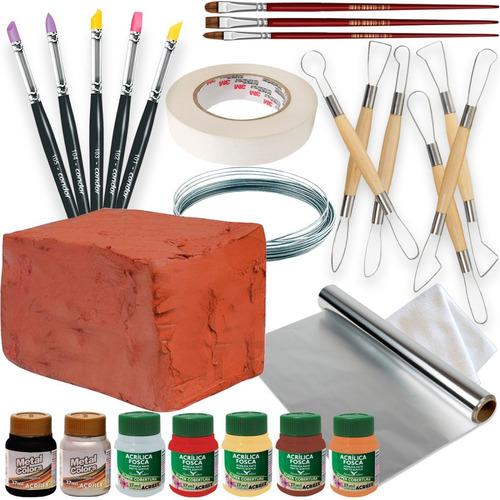 Kit P/ Escultura C/ Argila Ferramentas Pinceis Pintura Tinta