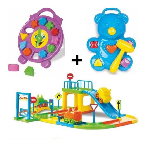 Brinquedos Educativo Infantil Pista Carros+relógio+ursinho