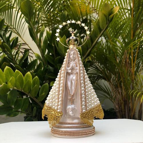 Nossa Senhora Aparecida Pérola Coroa Resplendor 28cm