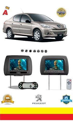 Kit Par Encosto Cabeça Tela 7 Dvd Usb Games Jogos 207 Sedan