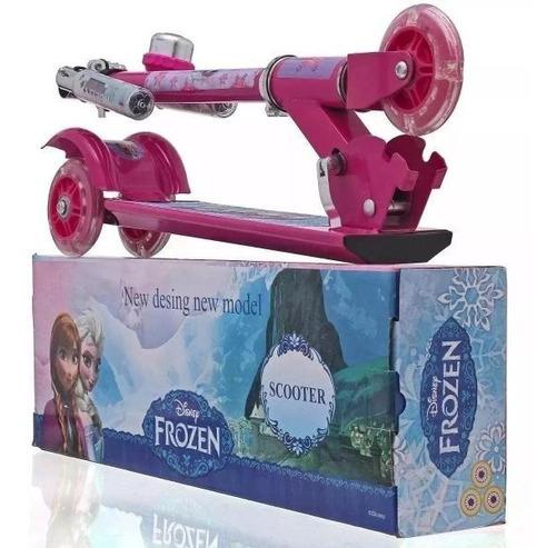 Patinete Frozen 3 - Freio E Roda Gel - Infantil Menina
