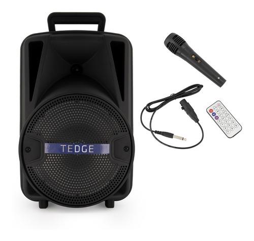 Caixa De Som Portátil Bluetooth Karaokê Com Microfone Tedge