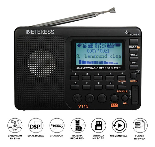 Rádio Portátil Gravador Am Fm Mp3 Retekess V-115 - Promoção!