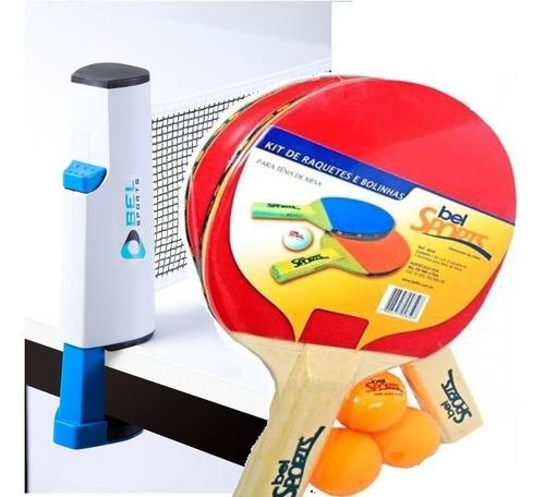 Rede Retrátil + 2 Raquetes E 3 Bolas Ping Pong Tenis De Mesa