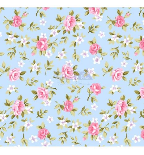 Tricoline Estampado Floral Lúcia 100%algodão 50cm X 1,50mt