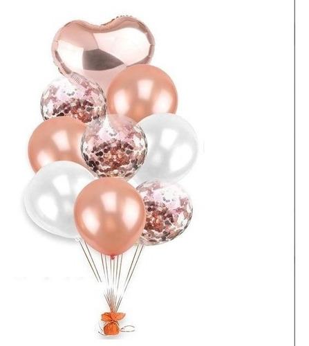 Bouquet De 9 Globos 1  Foil Rosa Gold 8 Latex (3 C/confetti)