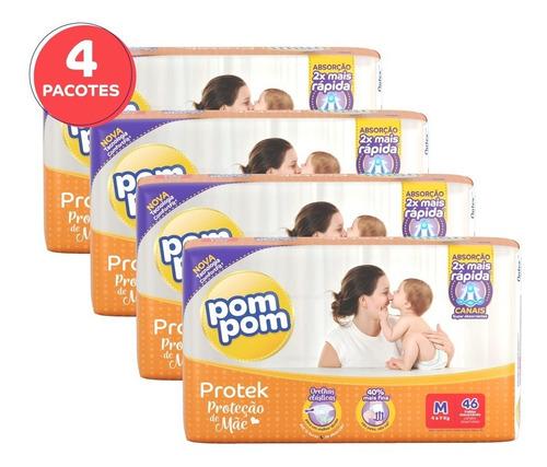 Kit Fralda Pom Pom Protek Proteção De Mãe Mega M 184un