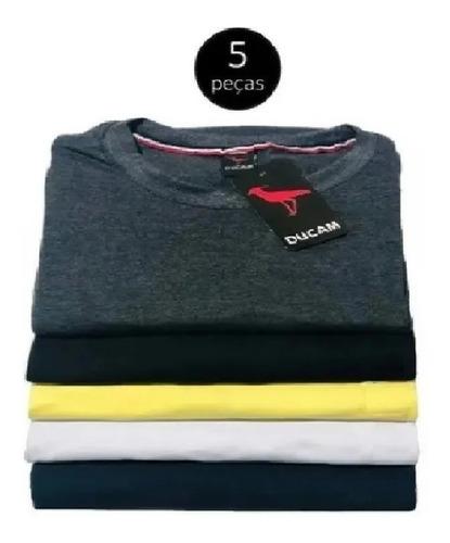 Camisetas Masculinas Basica Gola Redonda 5 Unidades, Algodão