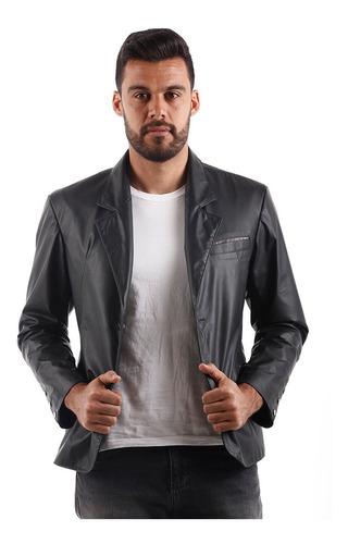 Blazer Casual Slim Couro Masculino Preto T024 Xg