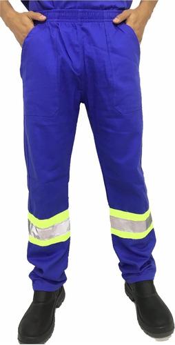 Calça Brim Pesado C/ Refletivo Uniforme Profissional Azul Royal