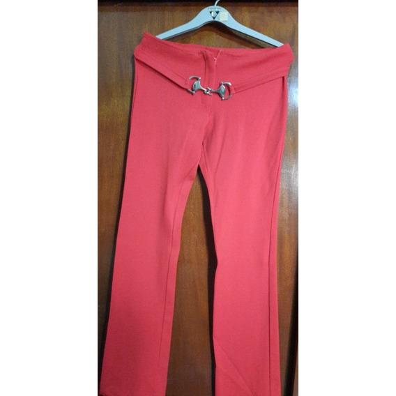 Calza Pantalon Color Rojo Coral
