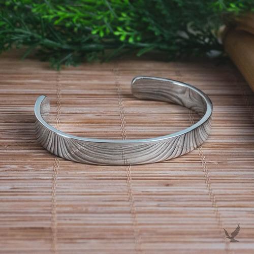 Bracelete De Prata Masculina Artesanal Heron - 9x2,5mm