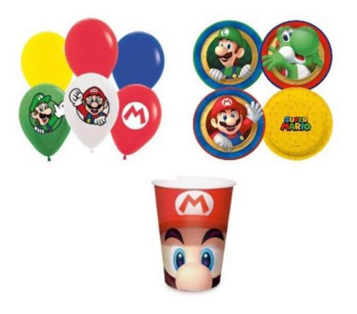 Kit Festa Super Mario-prato,copo,bexiga-28 Unid