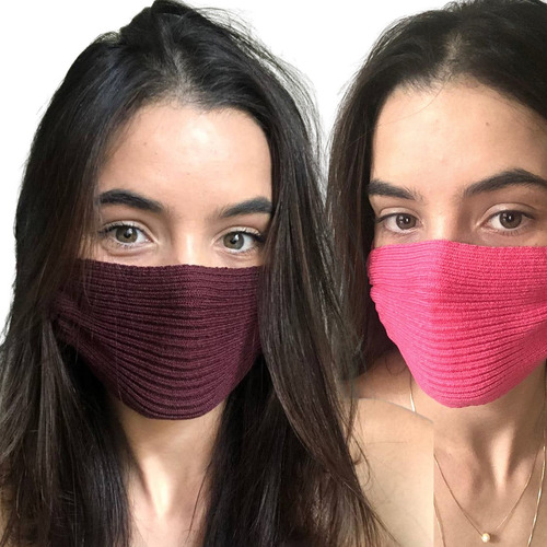 2 Máscaras Tricô Crochê Tricot Canelado Nude - Envio Hoje!