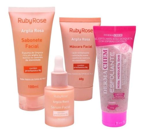 Sabonete Facial+máscara+esfoliante+sérum Facial Argila Rosa