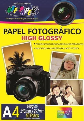 Papel Fotográfico High Glossy A4 180g 50 Folhas