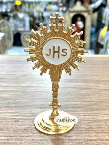 Santíssimo Sacramento Ostensório Metal Dourado 11cm Lindo N3
