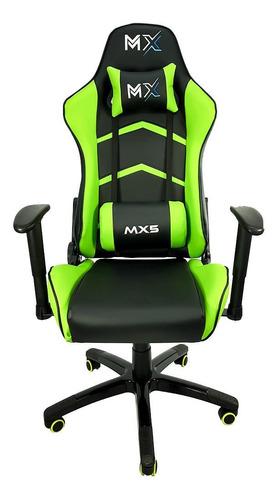 Cadeira De Escritório Mymax Mx5 Gamer Ergonômica  Preta E Verde Con Estofado Do Couro Sintético