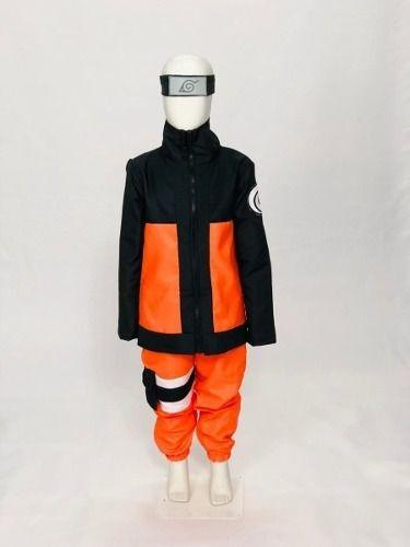 Fantasia Naruto Uzumaki Cosplay Infantil + Bandana Brinde