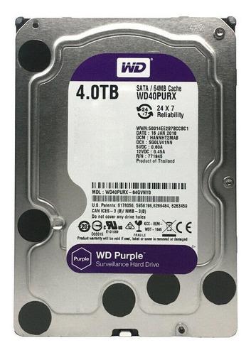 Disco Rígido Interno Western Digital Wd Purple Wd40purx 4tb Roxo