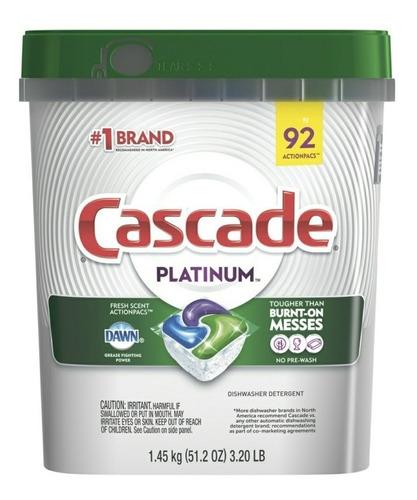 Detergente Lavavajillas Cascade Platinum 92 Capsulas 16x