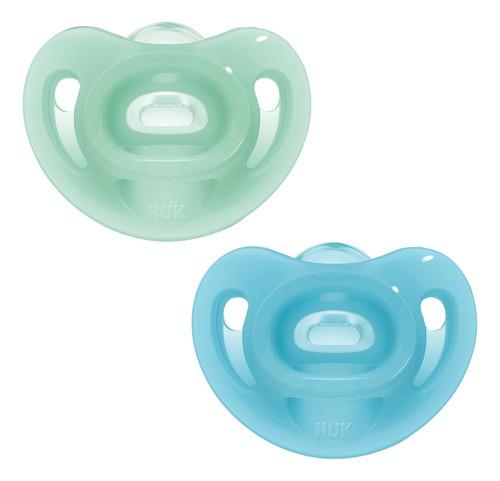 Kit 2 Chupetas Sensitive Soft 100% Silicone Azul/verde - Nuk