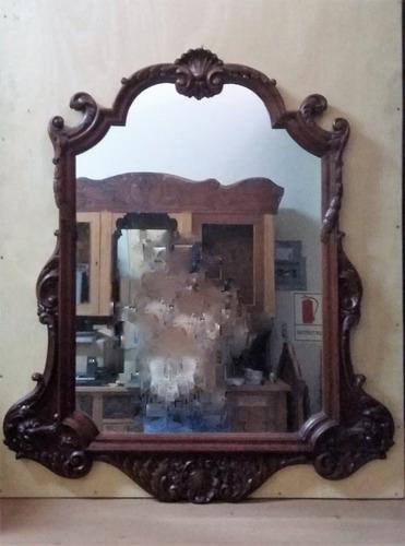 Antiguos Consola Y Espejo De Caoba Tallada