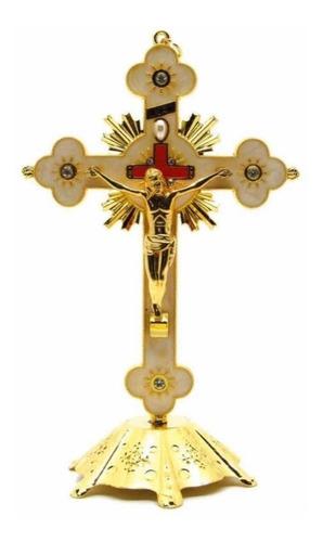 Crucifixo Em Metal Dourado Para Parede E Mesa Resinado