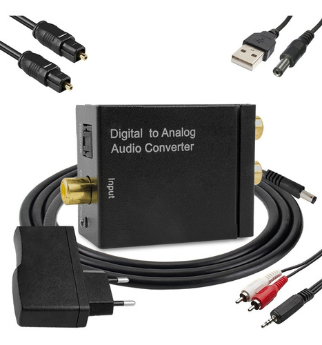 Conversor Áudio Digital Analógico Com Cabos Optico P2 X Rca Original