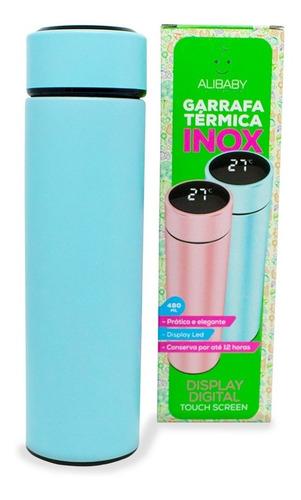 Garrafa Térmica Com Visor Temperatura Display Led Inox 480ml