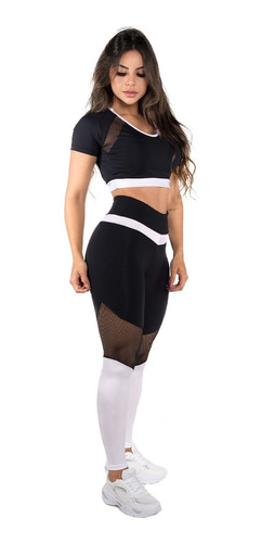 Conjunto Fitness Dily Legging + Cropped Com Tela I 609c