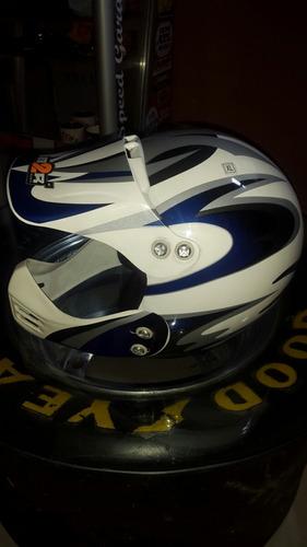 Casco Motocross Importado M2r Azul Y Blanco Xl