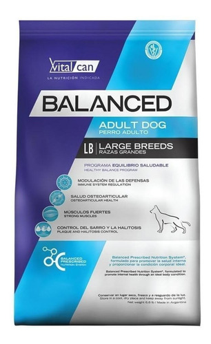 Alimento Vitalcan Balanced Para Perro Adulto De Raza Grande En Bolsa De 20kg