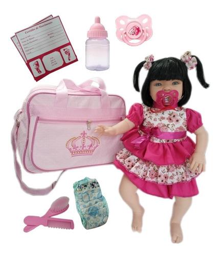 Boneca Bebe Tipo Reborn Completa + Bolsa Maternidade.